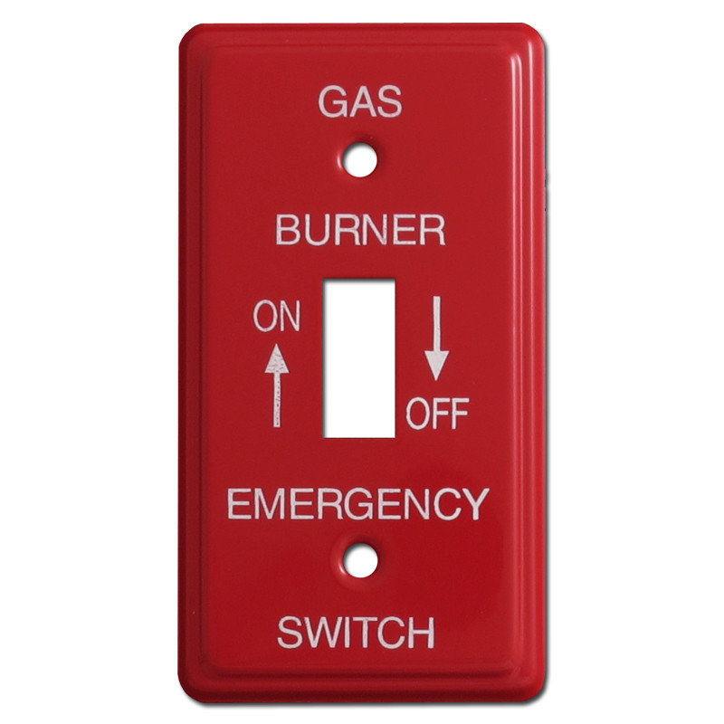 Red Emergency 1 Gang Gas Burner Switch Plates For Utility Box