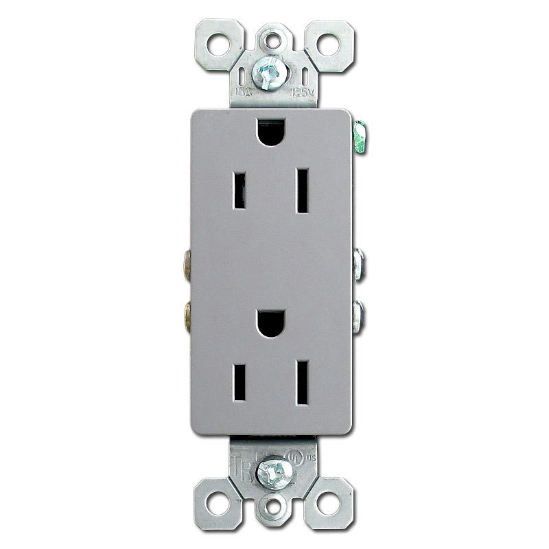 Gray Decor Receptacle Outlet 15A | Kyle Switch Plates