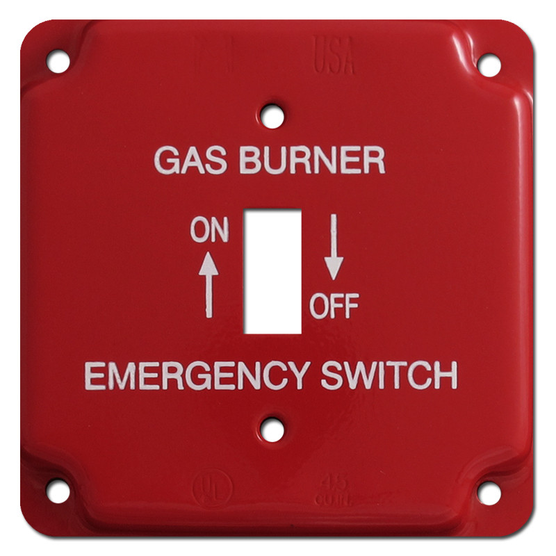 Red Emergency Centered Toggle Gas Burner Utility Box