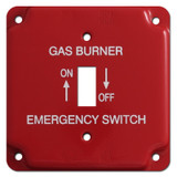 Red Emergency Centered Toggle Gas Burner Utility Box Switch Plate #025