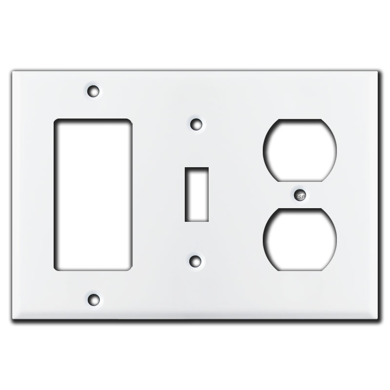 Decora toggle receptacle light switch cover white for Decora light switches