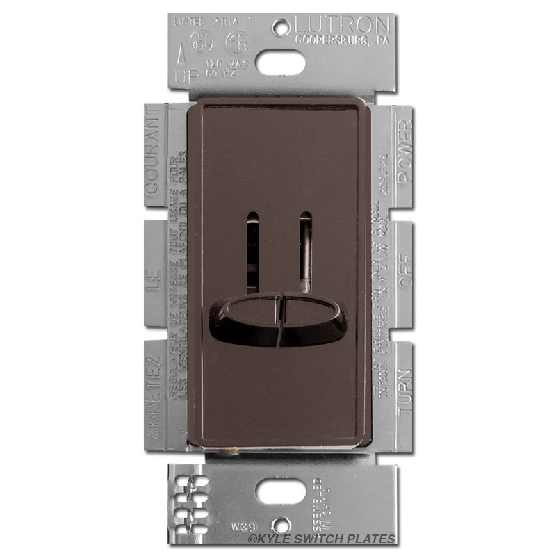 Double Light Switch with Dimmer - Brown Lutron Skylark