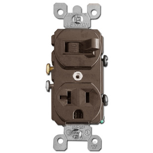 Brown Duplex Outlet & Sideways Toggle Switch 20A Leviton