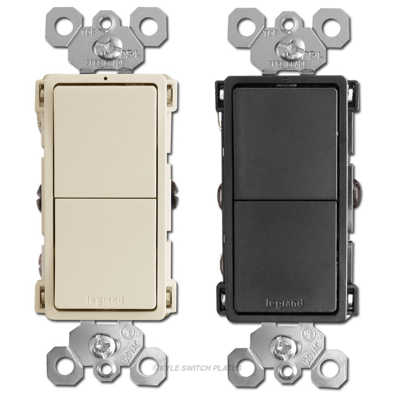dual light switch two single pole or 3 way rockers legrand rcd33stacked 3 way rocker light switches legrand rcd33