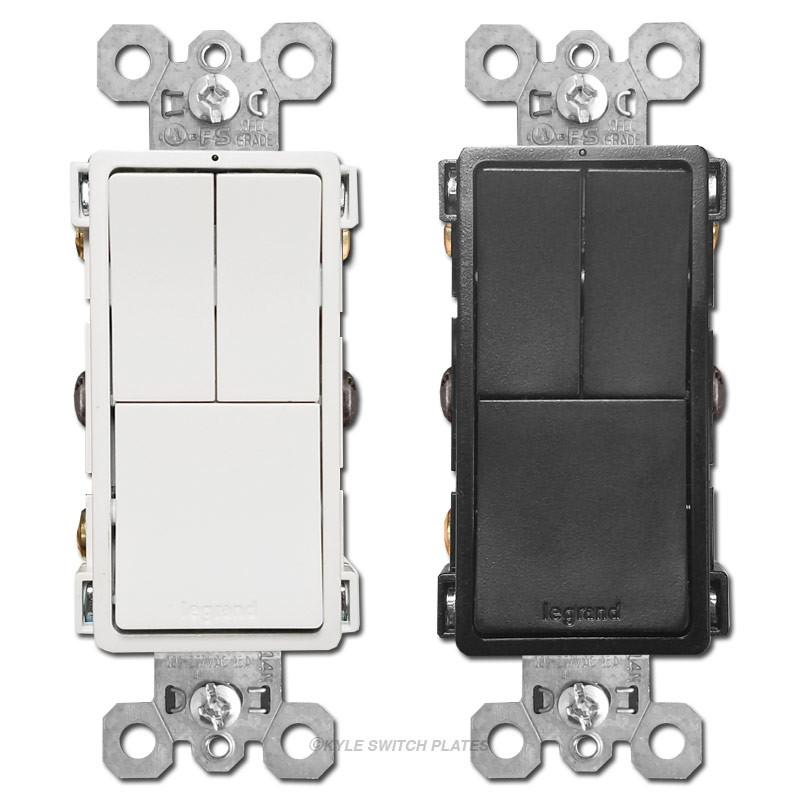 Triple Light Switches Dual S/P + 3-Way Legrand RCD113 on wiring a switch from a switch, three way switches diagram, electrical switches diagram, electrical outlets diagram, switch diagram, three prong power cord diagram,