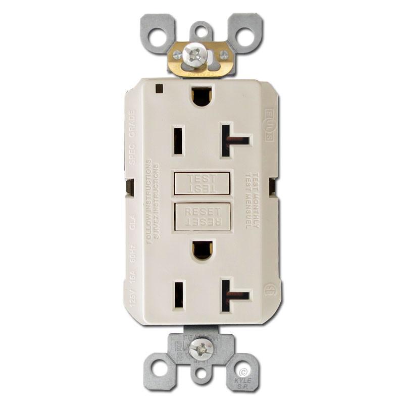 Decora gfi plugs 20a self test light almond kyle for Decora light switches
