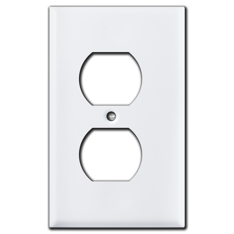 "White Electrical Outlet Covers Classy 18"" Trimmed Narrow Duplex Electrical Outlet Cover  White Design Decoration"