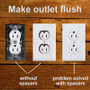 Spacers make outlet flush with wall surface - panelling, tile or batten.