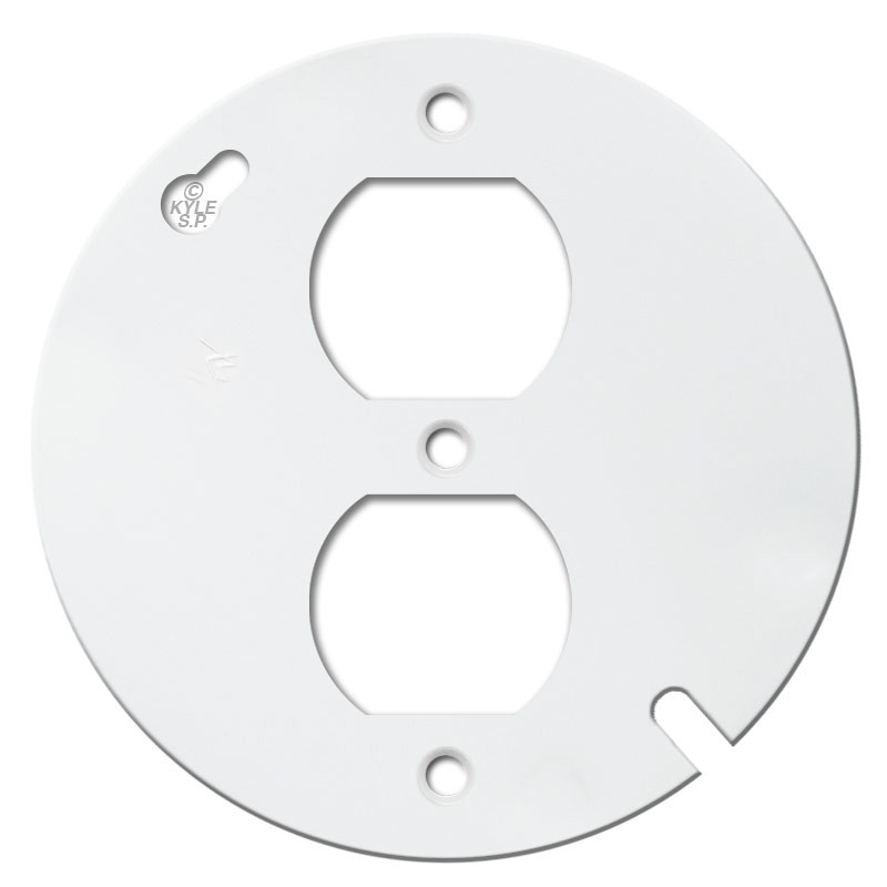 "Metal Electrical Outlet Covers Oversized Outlet Covers: 4"" Round Duplex Receptacle Cover Plate - White"
