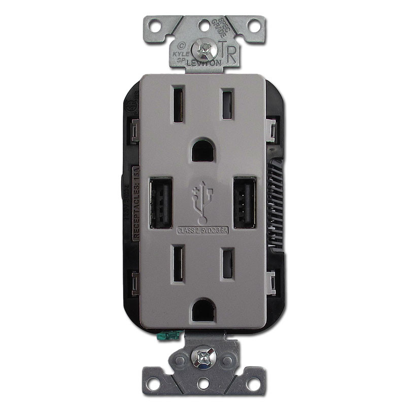 USB Wall Charger Outlet Duplex 15A TR 2 Port Leviton - Gray