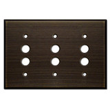 3 Push Button Light Switch Covers - Oil Rubbed Bronze