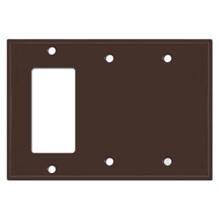 1 Rocker 2 Blank Light Switch Covers - Brown