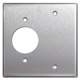 Blank + 220 TL Outlet Receptacle Cover Plate - Stainless Steel
