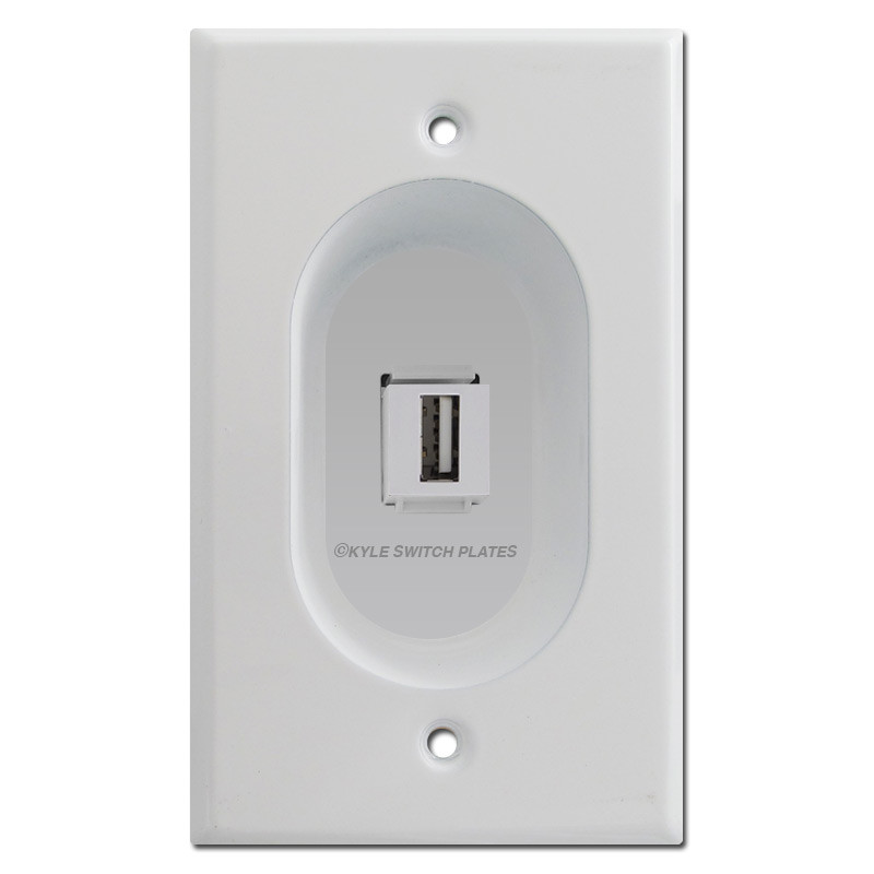 Recessed USB Outlet Wall Plate Covers, 1 Port Feed-Through