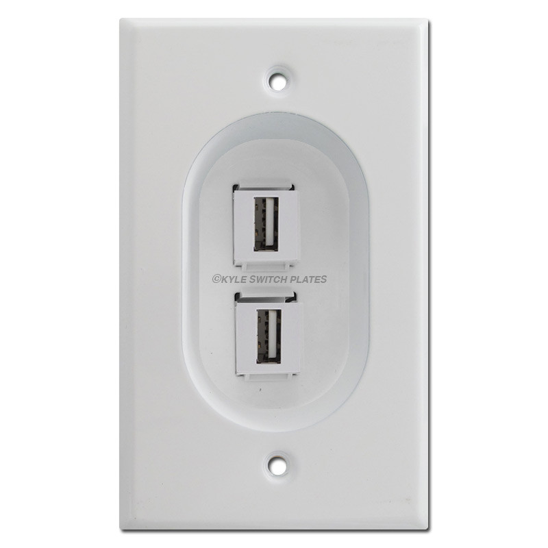 White Electrical Outlet Covers Extraordinary Recessed 2Port Usb Outlet Cover Wall Plate Feedthrough Jacks Inspiration