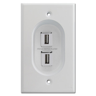 Recessed 2 Port Usb Outlet Cover Wall Plate Feed Through