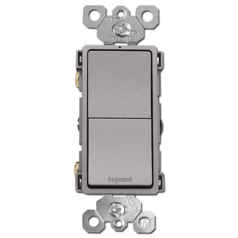 Nickel Stacked Rocker Switches Single Pole or 3-Way Dual Circuit