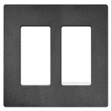 Double Rocker GFCI Screwless Wallplate Lutron - Black Satin