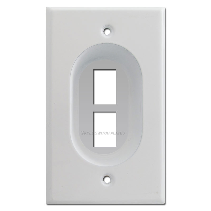 Recessed 2 Port Keystone Data Jack Outlet Cover Wall Plates