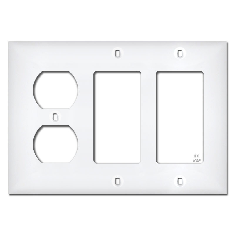 Outlet Cover Plates White Plastic 2 Decor 1 Duplex Outlet Cover Plate  Kyle Switch Plates