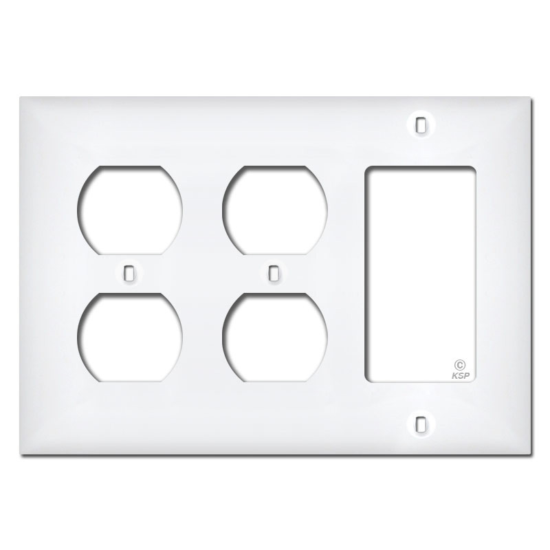 white plastic 2 duplex 1 decor outlet wall plate cover
