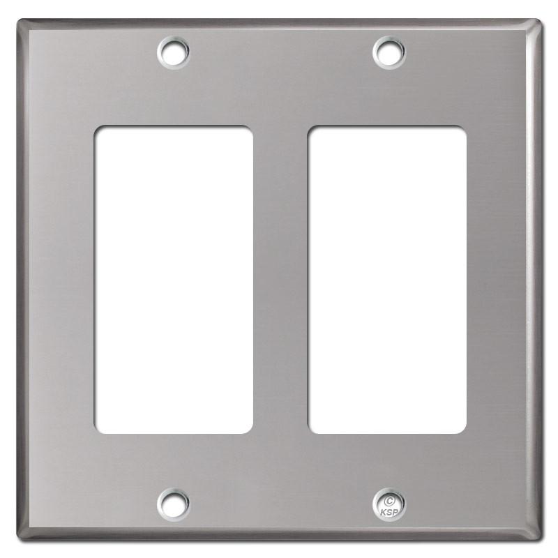 2 decor rocker electrical wall plates polished stainless steel - Decorative wall plates electrical ...