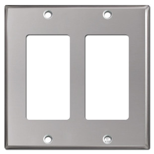 2 Decor Rocker Electrical Wall Plates - Polished Stainless Steel