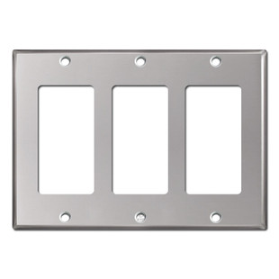 3 Rocker Electrical Light Switch Cover - Polished Stainless Steel