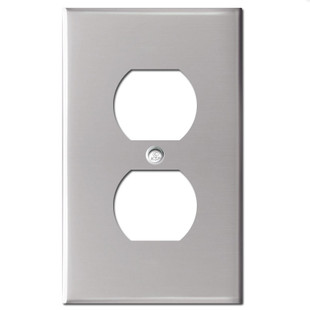 1 Duplex Outlet Cover Plate - Polished Stainless Steel