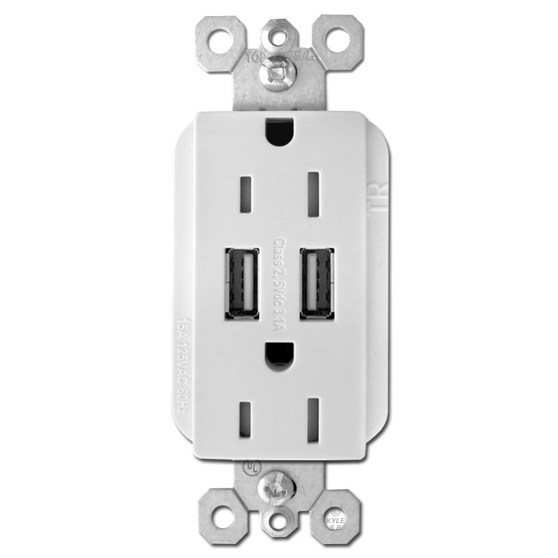 USB Power Outlet Dual Port Duplex Receptacle 15A - White
