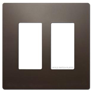 Dark Bronze Screwless Switch Wallplate - Plastic 2 Gang Legrand