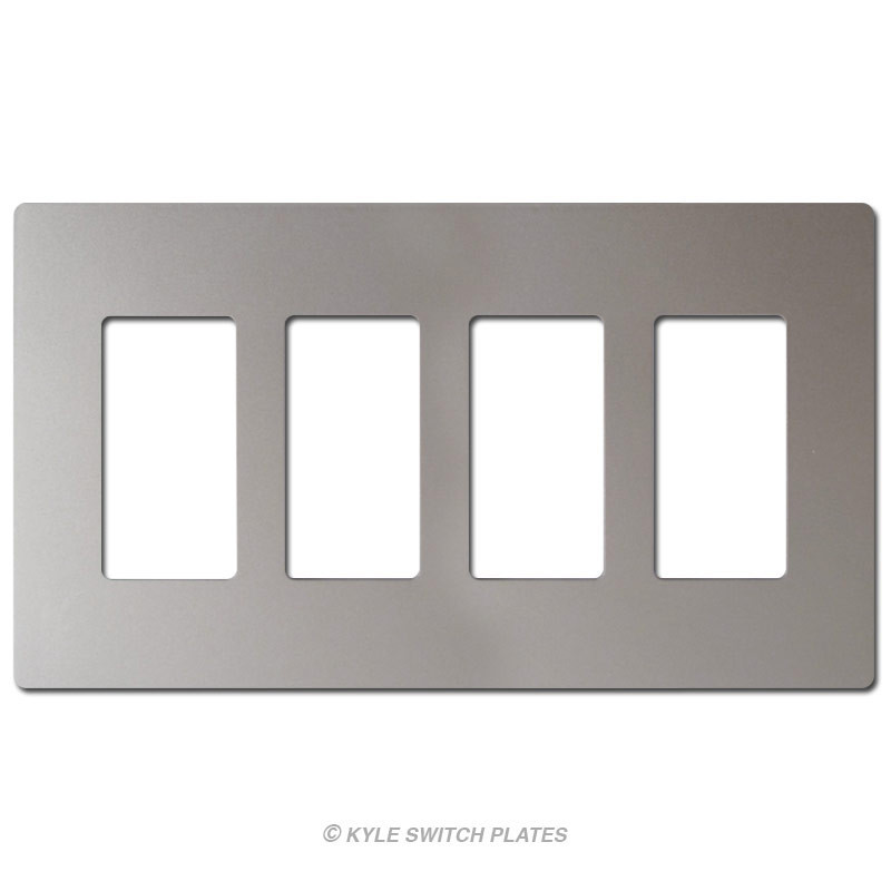Nickel Decorator Screwless Wall Plate Cover 4 Gang Plastic Legrand