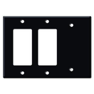 1 Blank 2 GFCI Decora Rocker Wall Plate Cover - Black