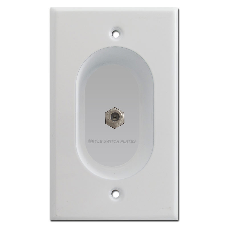 recessed coax jack outlet cover for flat tv white