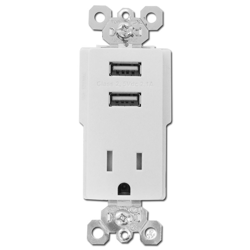 USB Electrical Outlet Dual Port 15A Plug - White | Kyle Switch Plates