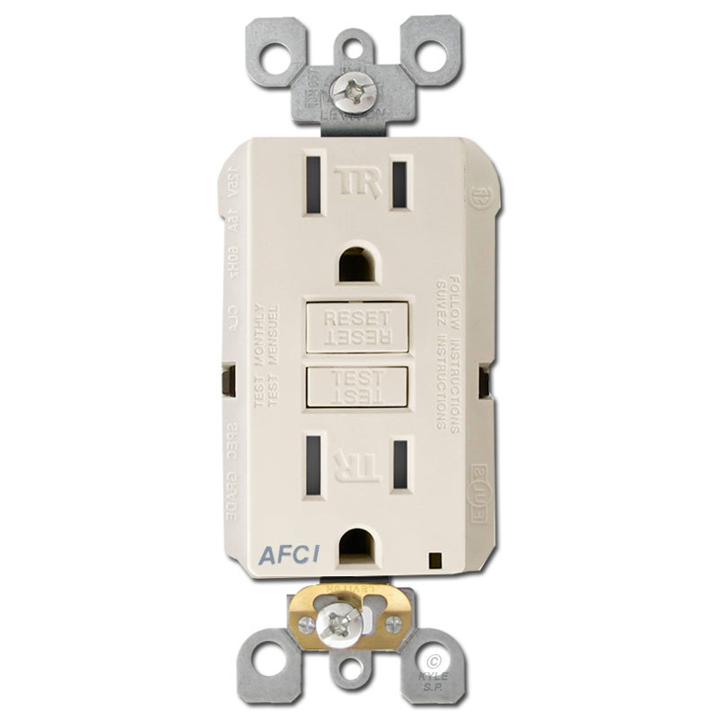 AFCI Receptacle Leviton 15A TR - Light Almond | Kyle Switch Plates