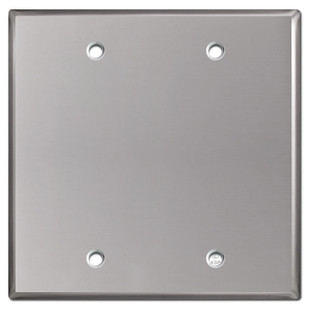 2 Blank Electrical Wall Plate Cover - Polished Stainless Steel