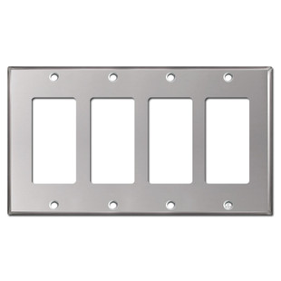 4 Decor Rocker Light Switch Plate - Polished Stainless Steel