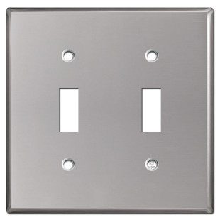 2 Toggle Switch Wall Plate - Polished Stainless Steel
