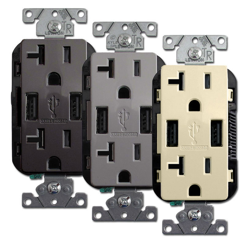 USB Charging Ports + Duplex Outlet 20A TR Leviton T5832