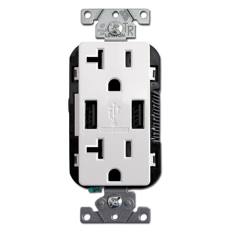 USB Receptacle 2 Port + Duplex Plugs 20A TR Leviton - White