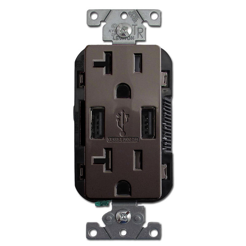Wall Receptacle 2 Port Duplex Outlet 20A TR Leviton - Brown