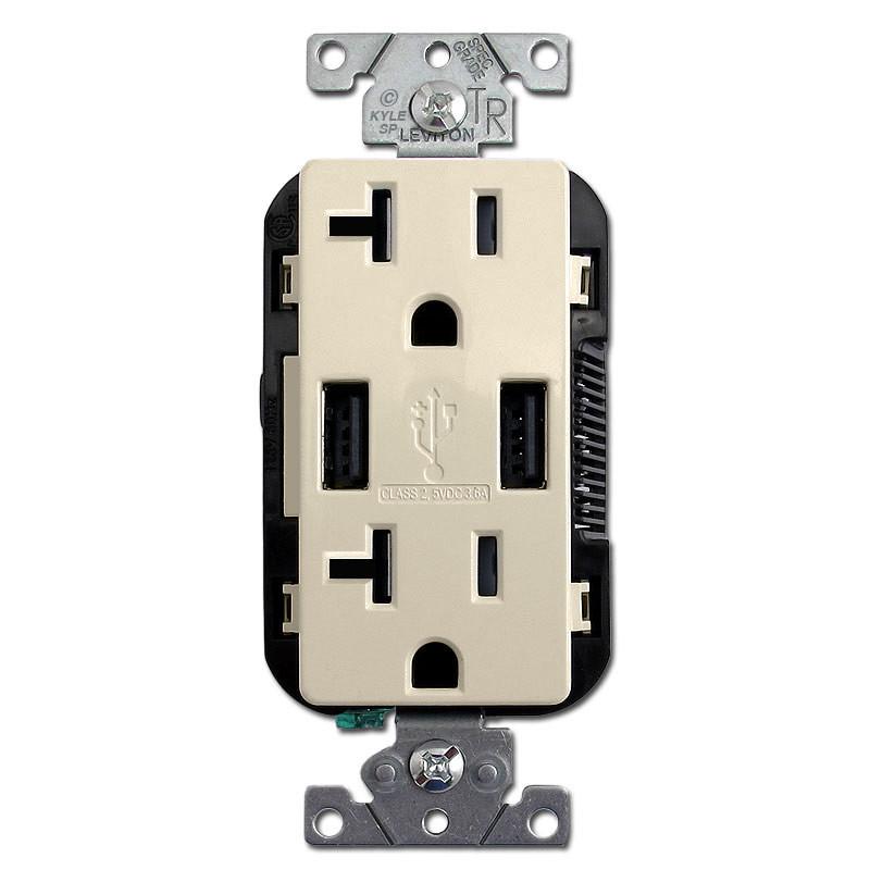 USB Power Outlet 2 Port Plug 20A TR Leviton