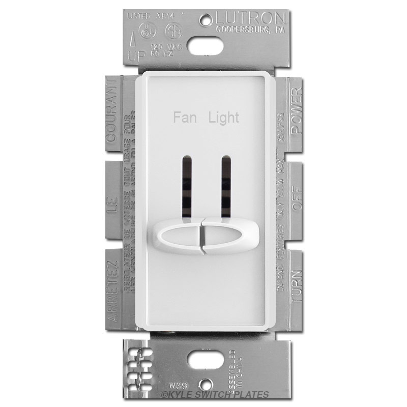 Split Fan Control Light Dimming Switch Lutron Skylark - White