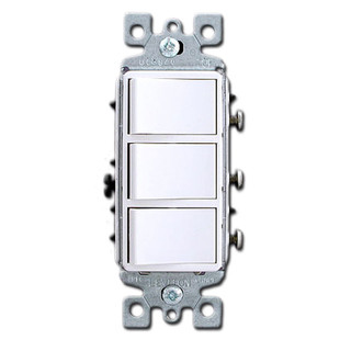 White Triple Stacked Combination Decora Rocker Switch