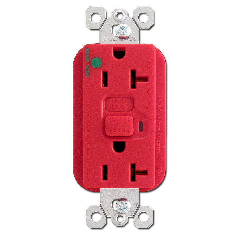 Red Hospital Grade 20 Amp GFCI Outlet | Kyle Switch Plates