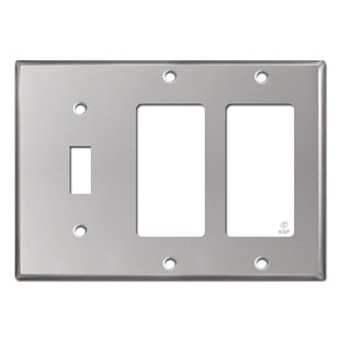 2 Decora GFCI 1 Toggle Wall Plate - Polished Stainless Steel