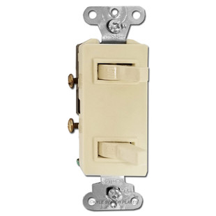 Decorator Dual Stacked Toggle Switches - Ivory