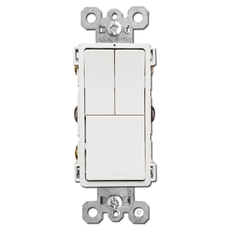 Stacked 3 Switches Dual S/P + Single Pole or 3-Way - White