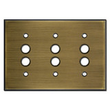 3 Push Button Wall Switch Plates - Antique Brass